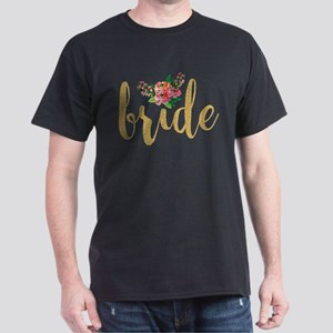 Gold Glitter Bride text floral accent T-Shirt