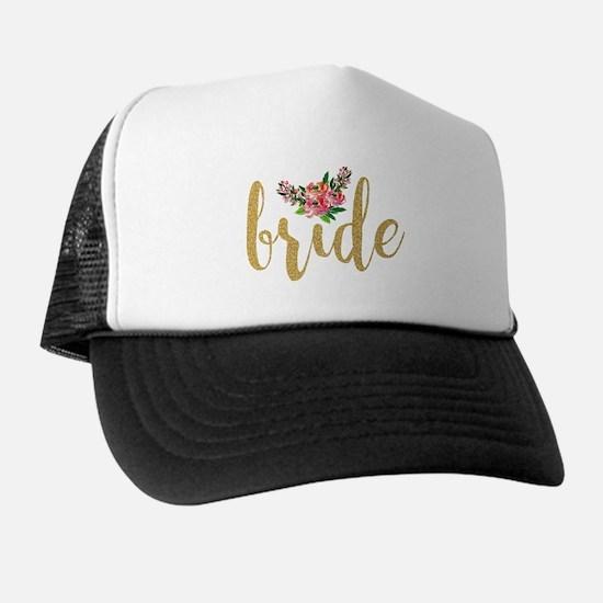 Gold Glitter Bride text floral accent Trucker Hat