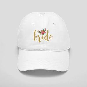 Gold Glitter Bride text floral accent Cap