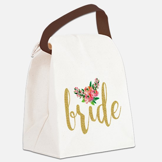 Gold Glitter Bride text floral ac Canvas Lunch Bag