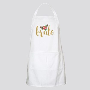 Gold Glitter Bride text floral accent Apron