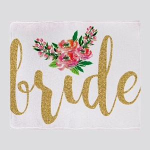 Gold Glitter Bride text floral accen Throw Blanket