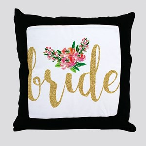 Gold Glitter Bride text floral accent Throw Pillow