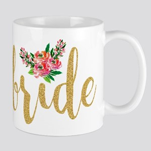 Gold Glitter Bride text floral accent Mugs