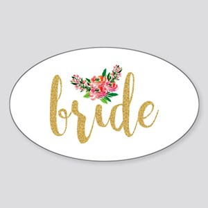 Gold Glitter Bride text floral accent Sticker