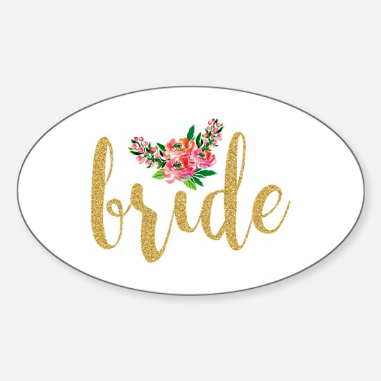 Gold Glitter Bride text floral accent Decal