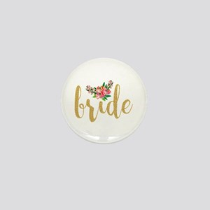 Gold Glitter Bride text floral accent Mini Button