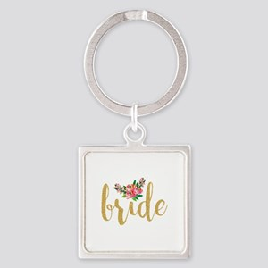 Gold Glitter Bride text floral accent Keychains
