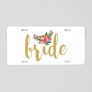 Gold Glitter Bride text flo Aluminum License Plate