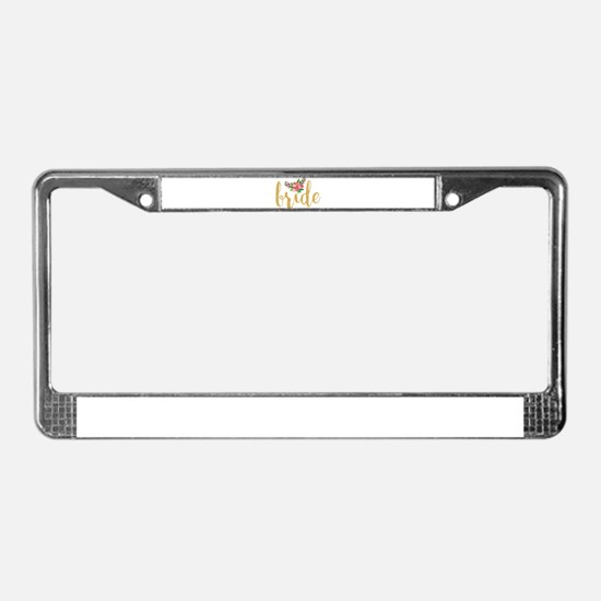Gold Glitter Bride text floral License Plate Frame