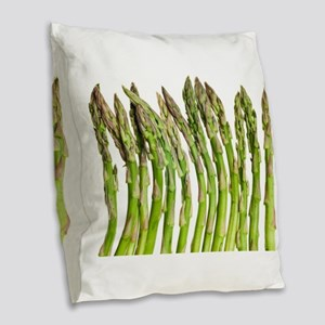 green asparagus vegetable Burlap Throw Pillow
