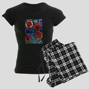 Abstract Colorful Flowers Women's Dark Pajamas