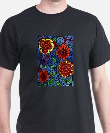 Abstract Colorful Flowers T-Shirt