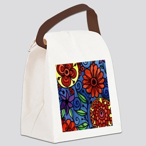 Abstract Colorful Flowers Canvas Lunch Bag