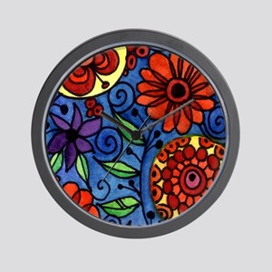 Abstract Colorful Flowers Wall Clock