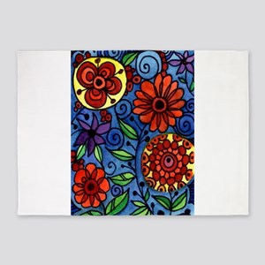 Abstract Colorful Flowers 5'x7'Area Rug
