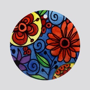 Abstract Colorful Flowers Round Ornament