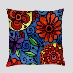 Abstract Colorful Flowers Everyday Pillow