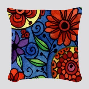 Abstract Colorful Flowers Woven Throw Pillow