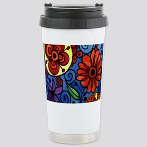 Abstract Colorful Flowe Stainless Steel Travel Mug