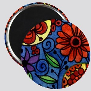 Abstract Colorful Flowers Magnets