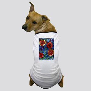 Abstract Colorful Flowers Dog T-Shirt