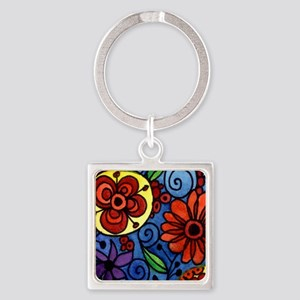 Abstract Colorful Flowers Keychains