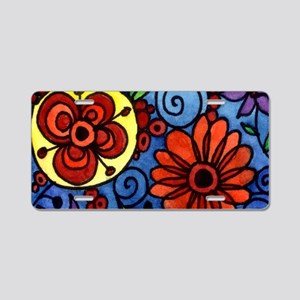 Abstract Colorful Flowers Aluminum License Plate