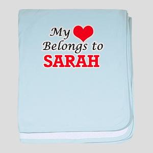 My heart belongs to Sarah baby blanket