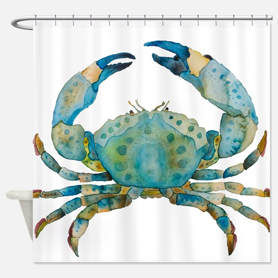 Large Creen Crab Watercolor Shower Curtain