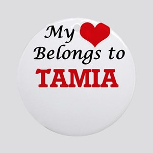 My heart belongs to Tamia Round Ornament
