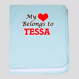 My heart belongs to Tessa baby blanket