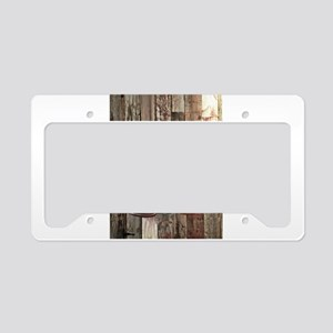 western cowboy boots barnwood License Plate Holder