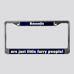 Furry People Basenji License Plate Frame
