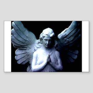 praying cemetery angel Rectangle Sticker