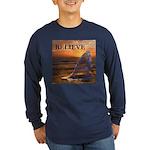 BELIEVE WHALE Long Sleeve Dark T-Shirt