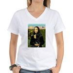 Mona / Gr Dane (bl) Women's V-Neck T-Shirt