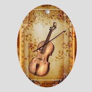 Wonderful violin on a frame Oval Ornament