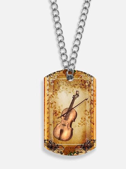 Wonderful violin on a frame Dog Tags