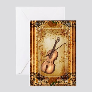 Wonderful violin on a frame Greeting Cards