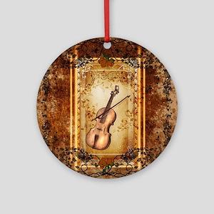 Wonderful violin on a frame Round Ornament