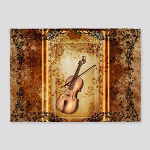 Wonderful violin on a frame 5'x7'Area Rug