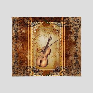 Wonderful violin on a frame Throw Blanket