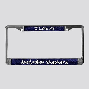 Funky Love Australian Shepherd License Plate Frame