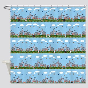 Pink bicycles pattern Shower Curtain