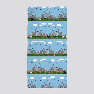 Pink bicycles pattern Beach Towel