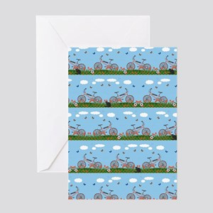 Pink bicycles pattern Greeting Cards