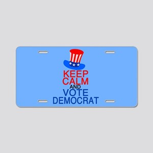 Democrat Keep Calm Aluminum License Plate