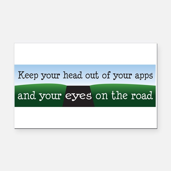 Eyes on the Road Rectangle Car Magnet