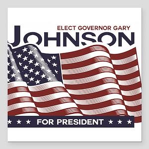 "Johnson /American Flag Design Square Car Magnet 3"""